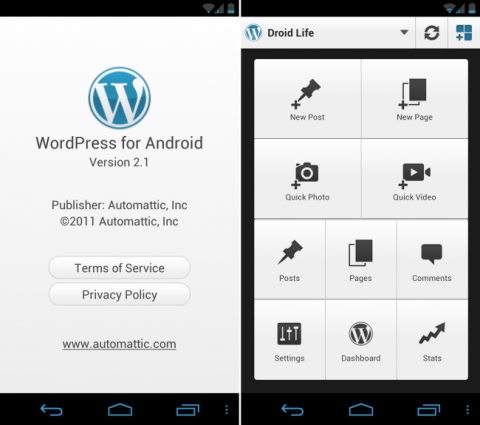 Usando o WP para Android